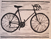 Lino Posters - Bike 8 Poster by William Cauthern