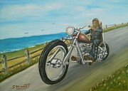 Nancy Stewart - Biker by Ocean