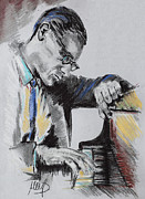 Celebrities Pastels Posters - Bill Evans Poster by Melanie D