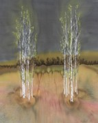 Autumn Trees Tapestries - Textiles Prints - 2 Birch Groves Print by Carolyn Doe
