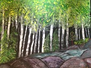Birches By Falls Print by Paula Brown