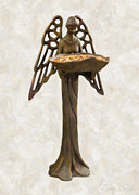 Single Object Painting Posters - Bird Feeder Angel Poster by Danny Smythe