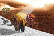 Cheetah Digital Art - Bison On Hill by Roger D Hale