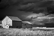 Moon Set Digital Art Prints - Black and white Barn Indiana Print by Michael Huddleston
