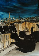 Paris Black Cats Framed Prints - Black Cat With His Pretty On Paris Roofs Framed Print by Atelier De  Jiel