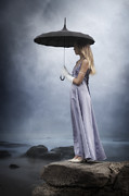 Evening Gown Photo Metal Prints - Black Umbrella Metal Print by Joana Kruse