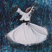 Turkish Paintings - Blue Dervish by Carol Bostan
