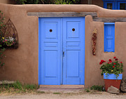 Pueblo De Taos Acrylic Prints - Blue Door Acrylic Print by Richard Smith
