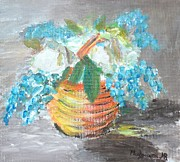 Vase Of Flowers Prints - Blue flowers Print by Mauro Beniamino Muggianu