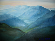 Appalachian Mountains Paintings - Blue Mountain Ridges by Glenda Barrett