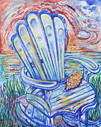 Patriotism Paintings - Blue Rocking Chair by Susan Schiffer