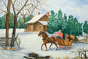 New England Snow Scene Painting Framed Prints - Bo and Ozark - Dashing The Fab Two Framed Print by Rhonda Leonard