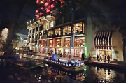 Riverwalk Photos - Boat on canal Riverwalk San Antonio by Dan Friend