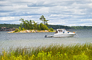 Horizon Metal Prints - Boat on Georgian Bay Metal Print by Elena Elisseeva