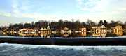 Boathouse Posters - Boathouse Row Poster by Andrew Dinh