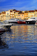 Docked Sailboats Prints - Boats at St.Tropez Print by Elena Elisseeva