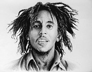 Face Prints Drawings - Bob Marley by Andrew Read