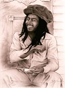 Indian Ink Framed Prints - Bob Marley Framed Print by Guillaume Bruno