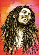 Bob Marley Abstract Prints - Bob Marley stylised pop art drawing potrait poser Print by Kim Wang
