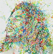 Watercolors Painting Metal Prints - Bob Marley Watercolor Portrait.1 Metal Print by Fabrizio Cassetta