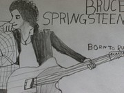 Bruce Springsteen Drawings Acrylic Prints - Born To Run Acrylic Print by Kyle Retsky