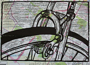 Bicycle Drawings - Brake on Map by William Cauthern