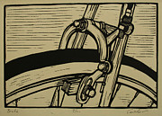 Linocut Prints - Brake Print by William Cauthern