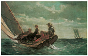 Sailboat Ocean Paintings - Breezing Up by Winslow Homer