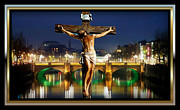 Jesus Cross Framed Prints Posters - Bridge Over Troubled Waters Poster by Karen Showell