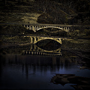 White Salmon River Prints - 2 Bridges at Dusk Print by Dale Stillman