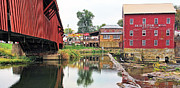 Bridgeton Covered Bridge Art - Bridgeton Mill and Covered Bridge by Jack Schultz