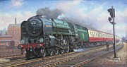 Locomotive Paintings - Britannia pacific. by Mike  Jeffries