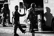 British Army Soldiers In Riot Gear On Crumlin Road At Ardoyne Shops Belfast 12th July Print by Joe Fox