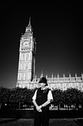 Bobby Hat Prints - british metropolitan police office guarding the houses of parliament London England UK Print by Joe Fox