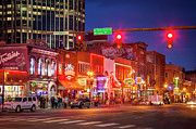 Club Scene Framed Prints - Broadway Street Nashville Framed Print by Brian Jannsen