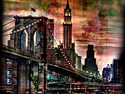 Brooklyn Bridge Mixed Media Framed Prints - Brooklyn Bridge Framed Print by Christine Mayfield
