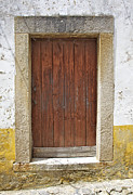 Medieval Entrance Prints - Brown Rustic Wood Door in a Medieval European Village Print by David Letts
