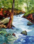 Buffalo River Paintings - Buffalo River by Steve Brumbaugh