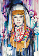 Watercolor Portrait. Prints - Bulgarian national costume Print by Slaveika Aladjova