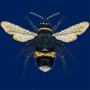 Pointillism Art - BumbleBee Bedazzled by R  Allen Swezey