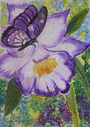 Silk Paintings - Butterfly whimsy by Serendipitous Silks Fine Art
