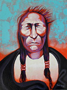 Red Indian Chief Posters - Cadmium Red Man Poster by Karen Roncari