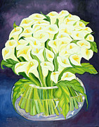 Vase Of Flowers Painting Prints - Calla Lilies Print by Laila Shawa