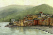 Charming Town Paintings - Camogli Italy by Nan Wright