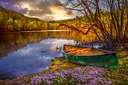 Canoe At The Lake Print by Debra and Dave Vanderlaan