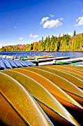 Docks Photos - Canoes on autumn lake by Elena Elisseeva