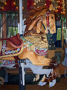 Carousel Art Painting Originals - Captives On The Carousel by Stephen Shub