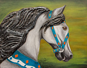 Storm Mixed Media Originals - Carousel Horse Storm Chaser by Dian Paura-Chellis