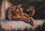 Cat Portraits Pastels Prints - Catching the Last Rays Print by Cynthia House