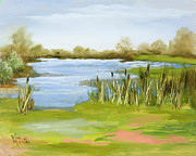 Vic Mastis Paintings - Cattails at Forest Park by Vic  Mastis
